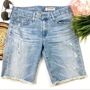 AG The Nikki Skinny Raw Hem Med. Wash Denim Shorts